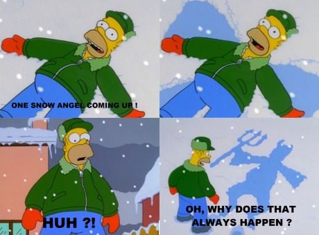 homer simpson snow angel