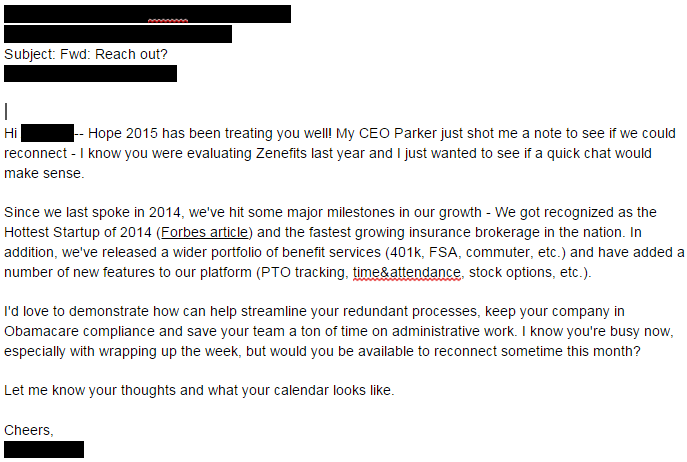 Why Zenefits' Cold Emails Lose Their Prospects - Salesfolk