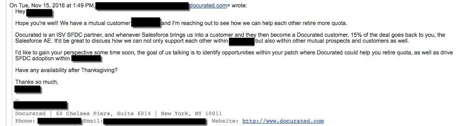 Docurated sales email response example