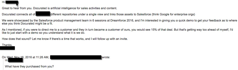 docurated bad sales email