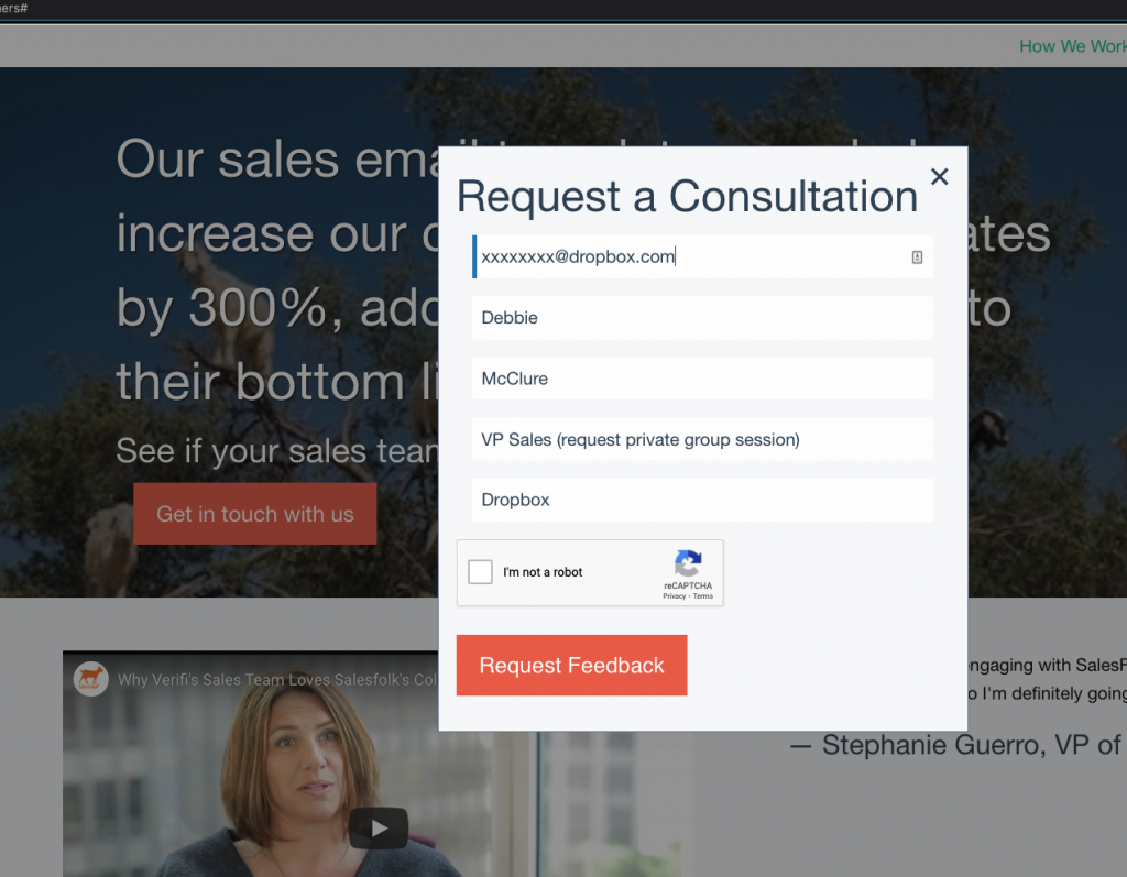 SalesFolk consultation form special request